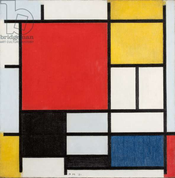 Composition with large red plane, yellow, black, gray and blue, 1921 (oil on canvas)