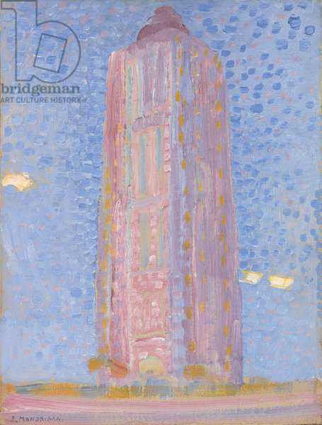 Lighthouse at Westkapelle in Pink, 1909 (oil on cardboard)