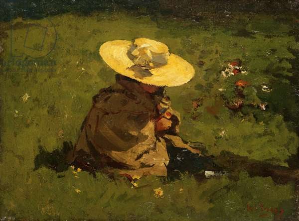 Girl in the grass, c.1895 (panel)