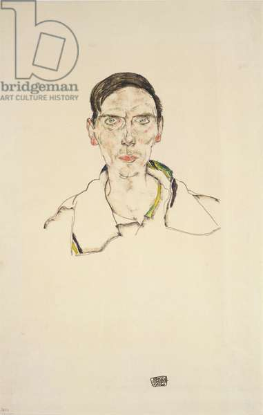 Portrait of a young man wearing sports clothes, 1916 (pencil and crayon)