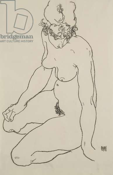 Seated female nude, 1918 (etching)