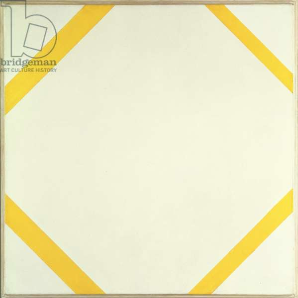 Lozenge Composition with Four Yellow Lines, 1933 (oil on canvas)