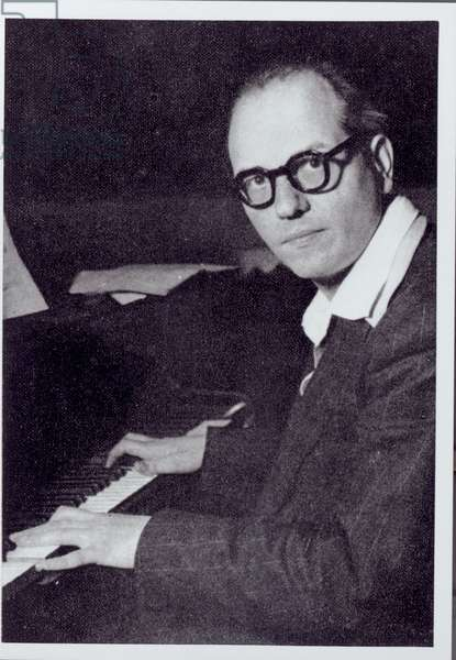 Portrait of Olivier Messiaen (b/w photo)