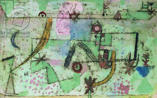 In the style of Bach, 1919 (no 196) (oil transfer drawing and w/c on primed linen on cardboard)