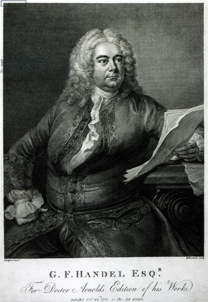 George Frederick Handel (1685-1759), engraved by William Bromley (1769-1842), for Doctor Arnold's edition of his (Handel's) works, pub. 1789 (engraving)