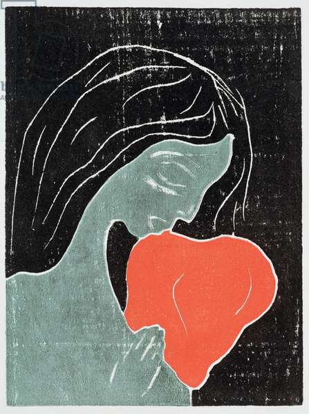 Woman with a dog (litho)