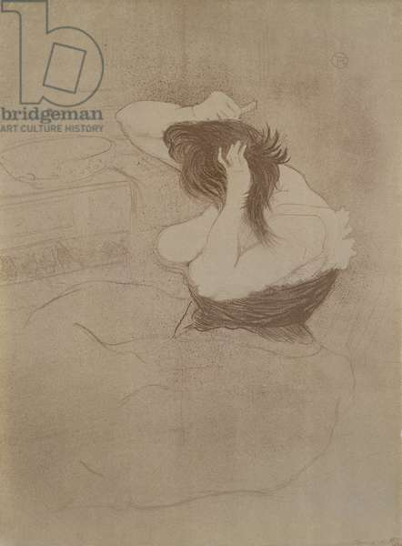 Woman combing her hair, from 'Elles', 1896 (litho)