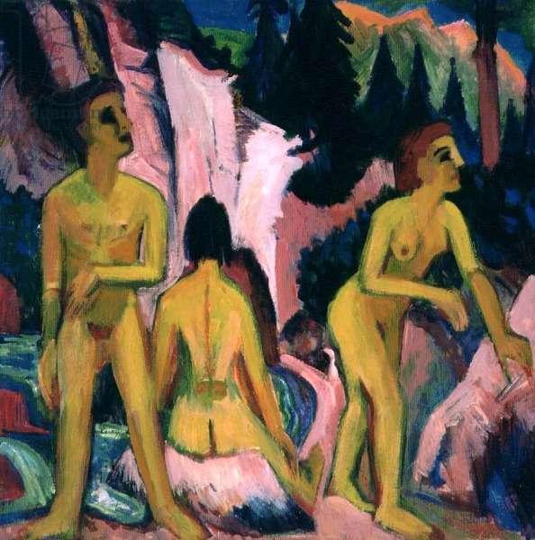 Bathing figures (gouache)