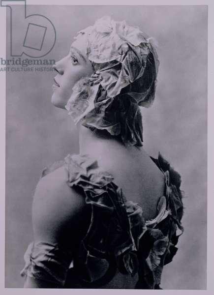 Vaslav Nijinsky (1890-1950), Russian dancer, in costume for the ballet 'Le Spectre de la Rose', portrait photograph