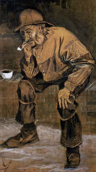Old man with a pipe, 1883 (pen & ink and charcoal)