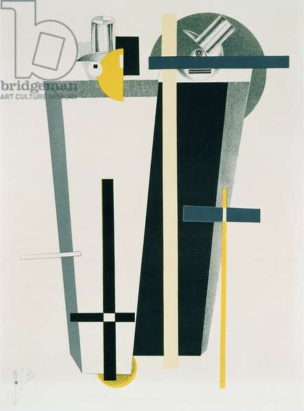 Abstract composition in grey, yellow and black (litho)