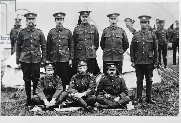Soldiers at a training camp in Thornham, Norfolk, c.1912 (b/w photo)