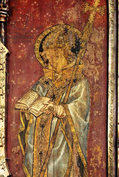 Archbishop Thomas Becket, detail of the rood screen, St Helen's Church, Ranworth, Norfolk, UK (tempera on wood)