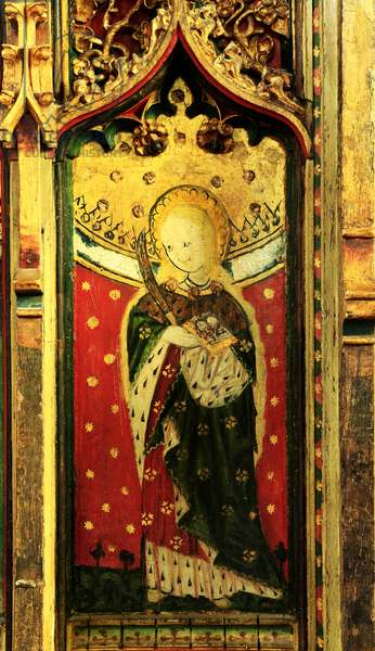 St. Lucy, Rood Screen painting, Church of St Peter and St Paul, Eye, Suffolk, c.1480 (polychrome wood)