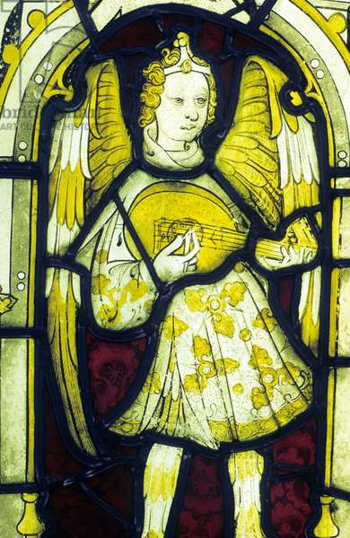 Angel playing a cittern (stained glass)