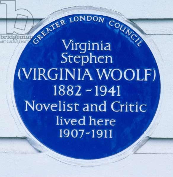 Virginia Woolf Blue Plaque, 29 Fitzroy Square, London (photo)