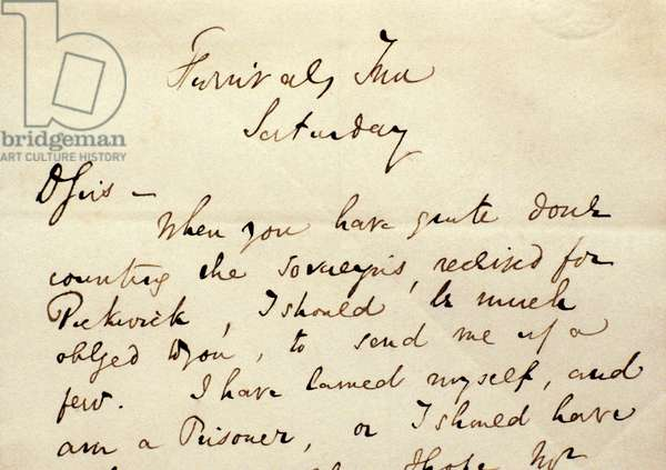 A letter from Charles Dickens to his publishers (ink on paper)