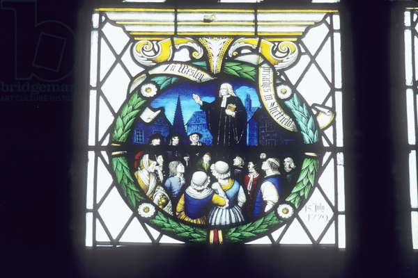 John Wesley preaching in Sheffield (stained glass)