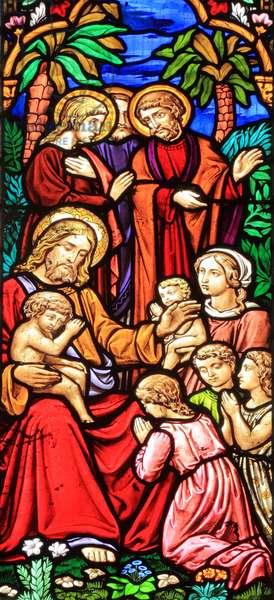Suffer the Little Children, Life of Jesus Christ, stained glass, Snettisham church, Norfolk, 1861 (stained glass)