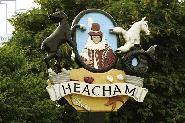 Heacham village sign depicting Pocahontas, Heacham, Nofolk, UK (photo)