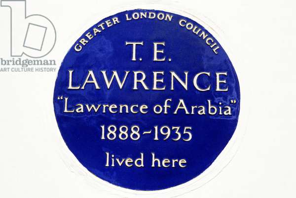 Blue Plaque for Lawrence of Arabia, 14 Barton Street, London (photo)