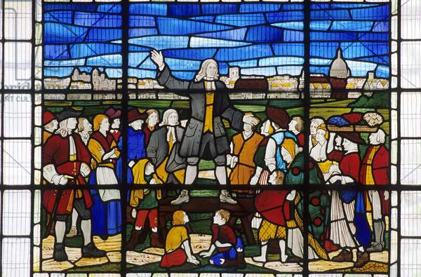 John Wesley preaching (stained glass)