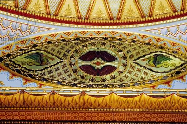Oriental frieze detail ceiling, Music Room (paint on plaster)