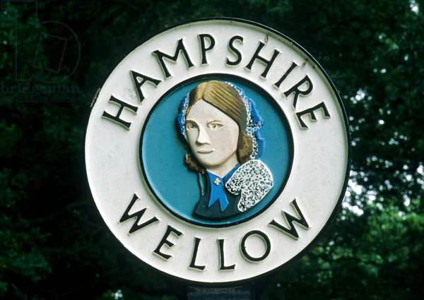 Village sign for Wellow, Hampshire, showing Florence Nightingale (photo)