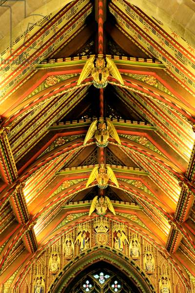 Interior of 20th century Gothic revival angel roof ceiling, Sandringham Parish Church, Norfolk (photo)