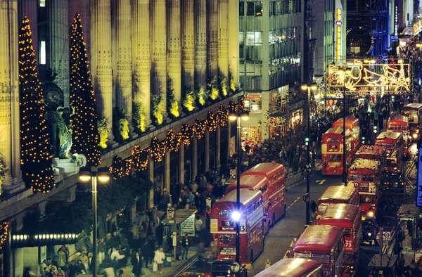 Christmas decorations at Selfridges, Oxford Street, London, UK (photo)