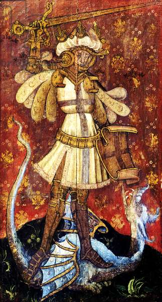 St George slaying the dragon, detail of the rood screen, St Helen's Church, Ranworth, Norfolk, UK (tempera on wood)