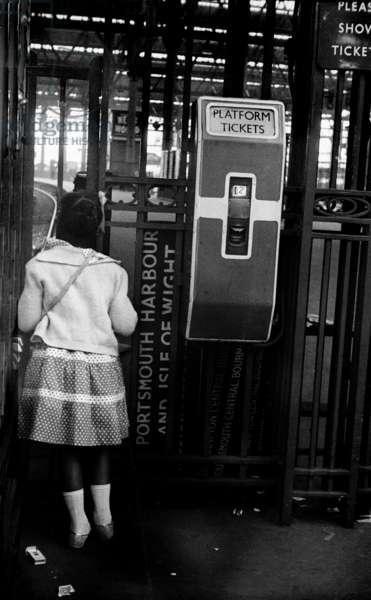 Windrush migrants arriving at Waterloo Station, London, 1962 (b/w photo)
