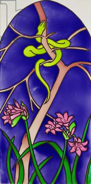 Central window of 'The Garden of Eden' triptych with serpent, 2000 (stained glass)