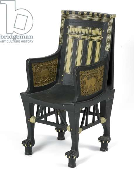 Replica of a child's chair from the tomb of Tutankhamun, 1924 (painted wood)