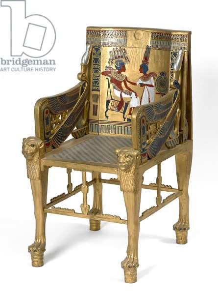 Replica throne of Tutankhamun, 1924 (painted & gilded wood)