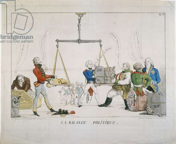"""La Balance Politique"", a caricature of the Congress of Vienna, 1815 (coloured etching)"