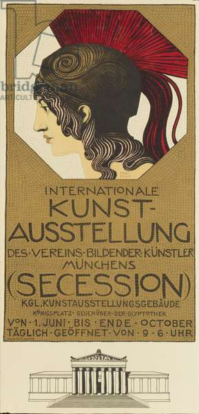 Poster advertising the International Art Exhibition, Munich, 1898 (colour litho)