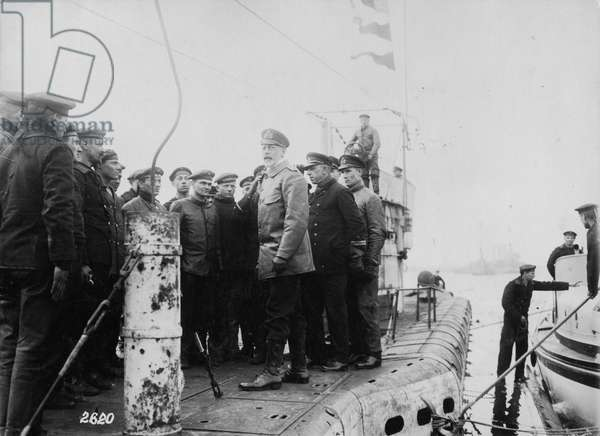 Henry of Prussia on the deck of a submarine, c.1914-18 (b/w photo)
