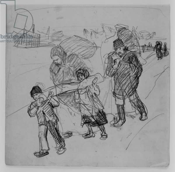 Polish refugees, 1915 (pencil on paper)