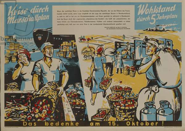 East German propaganda poster against the European Recovery Program (Marshall Plan), printed by MDV, Neuruppin, 1950, (colour litho)