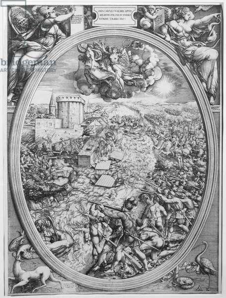 The Battle of Muehlberg, 24 April 1547, 1551 (engraving)