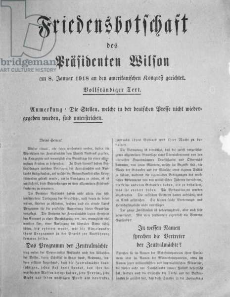 First page of a translation of the peace proposal of US President Woodrow Wilson, January 1918 (litho)