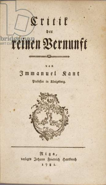 """Title page of Immanuel Kant's """"Critique of Pure Reason"""", 1781 (engraving)"""