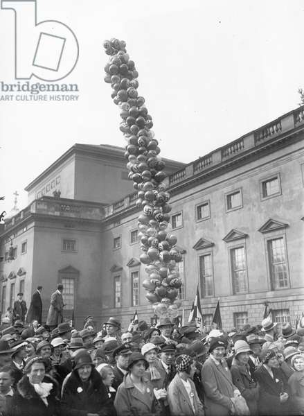Crowd with swastika flags and balloons, Berlin, Germany, c.1933-39 (b/w photo)