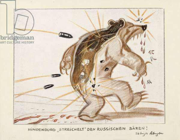 Hindenburg 'pets' the Russian Bear, plate 15 from Volume III of a diary, 1914 (colour litho)