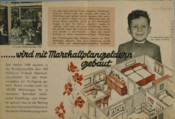 Back cover of a brochure advertising the European Recovery Program (Marshall Plan), published by ECA Mission fuer Westdeutschland, 1950, (lithograph)