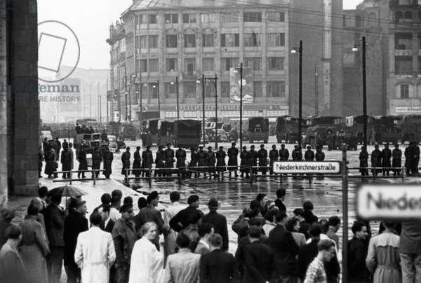 Volkspolizei on Niederkirchnerstrasse, Berlin, 17th June 1953 (b/w photo)