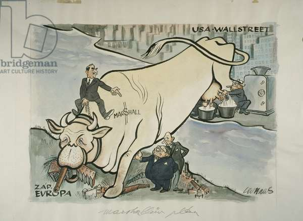 Caricature satirising the Marshall Plan, showing (L-R) US Secretary of State Dean Acheson (mounted on cow), British Foreign Secretary Ernest Bevin, and French Prime
