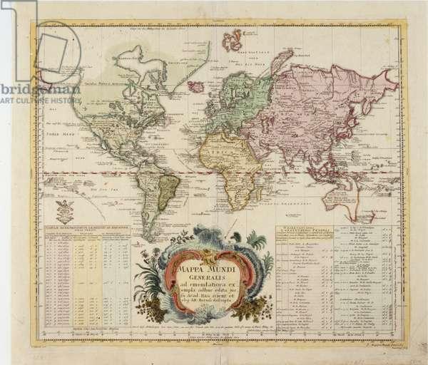 Map of the World, published by Preussische Akademie der Wissenschaften, Berlin 1753 (coloured engraving)