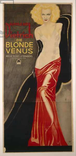 German advertisement for the film 'Blonde Venus', starring Marlene Dietrich, printed by August Scherl GmbH, 1932 (colour litho)